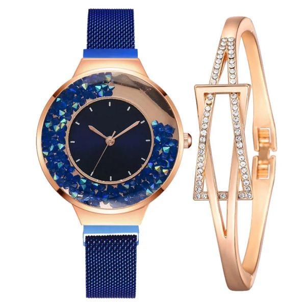 ست دستبند و ساعت مچی عقربه ای زنانه جینگ هانگ مدل cw-473