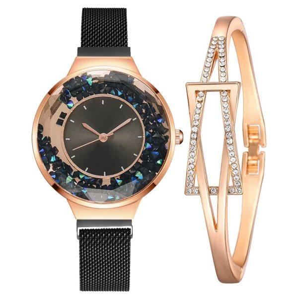 ست دستبند و ساعت مچی عقربه ای زنانه مدل cw-473