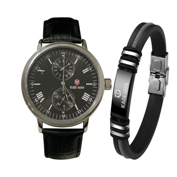 ست دستبند و ساعت مچی عقربه ای مردانه کیدمن مدل 9026G